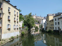 Alzette River, Luxembourg. Buildings along the Alzette River in Luxembourg Royalty Free Stock Photography