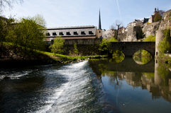 Alzette River - Luxembourg City. Alzette River in Luxembourg City Stock Photo
