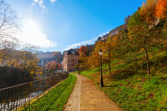 At the Alzette river in Luxembourg City. Footpath at the Alzette river in Luxembourg City Stock Image