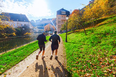 At the Alzette river in Luxembourg City Stock Image
