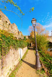 At the Alzette river in Luxembourg City. Footpath along the Alzette river n Luxembourg City Stock Photos