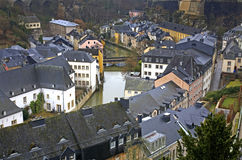 Alzette river Luxembourg city. Luxembourg Stock Photos