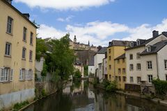 Alzette river scene in Luxembourg from Rue Munster. Street royalty free stock images