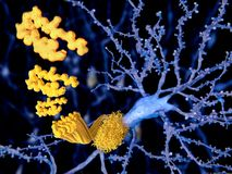 Alzheimer disease, the beta-amyloid peptid stock illustration