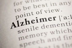 Alzheimer. Fake Dictionary, Dictionary definition of the word Alzheimer. including key descriptive words Stock Photography