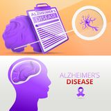 Alzheimer mind dementia banner set, cartoon style royalty free illustration