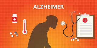 Alzheimer old people illustration with medicine and medical health. Vector Royalty Free Stock Photo