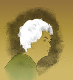 Alzheimer's. Hand-drawn portrait of an elderly woman with Alzheimer's Disease Royalty Free Stock Images
