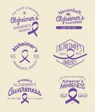 Alzheimer's Awareness Month. Hand Drawn Insignia set stock illustration