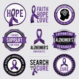 Alzheimer's Disease Awareness Badges Illustration Royalty Free Stock Photography