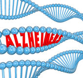 Alzheimer's Disease DNA Strand Medical Research Cure. Alzheimer's disease 3d letters in a strand of dna to illustrate medical research looking at genes for a royalty free illustration