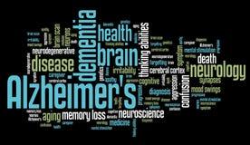 Alzheimer's disease. Elderly health concepts word cloud illustration. Word collage concept vector illustration