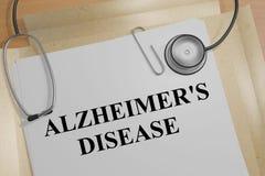 Alzheimer's Disease - medical concept. 3D illustration of ALZHEIMER'S DISEASE title on a medical document royalty free illustration
