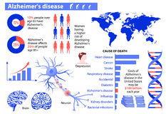 Alzheimer's disease. Medical infographic. Set elements and symbols for design Royalty Free Stock Photos