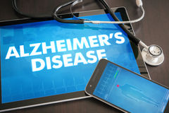Alzheimer's disease (neurological disorder) diagnosis medical. Concept on tablet screen with stethoscope royalty free stock photography