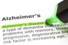 Alzheimer-` s Krankheits-Definition stockfoto