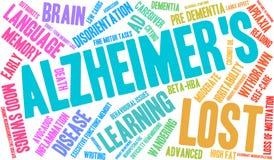 Alzheimer ` s słowa chmura Fotografia Royalty Free