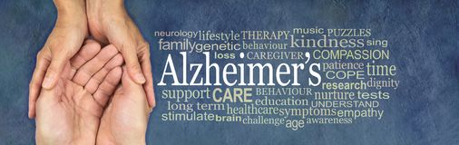Alzheimer`s Word Cloud Campaign Awareness Banner royalty free stock images