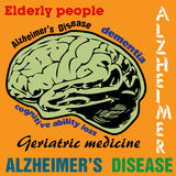 Alzheimers disease. Abstract colorful background with brain shape and various words related to the Alzheimers disease royalty free illustration