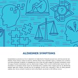 Alzheimers disease concept banner template in line style. Alzheimers disease concept banner or poster template in line style with place for text. Medical poster vector illustration