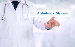Alzheimers Disease concept. Medicine doctor working with computer interface as medical stock images
