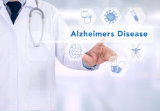 Alzheimers Disease concept. Medicine doctor working with computer interface as medical vector illustration