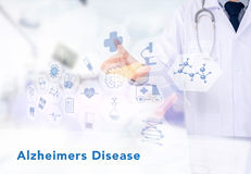 Alzheimers Disease concept. Medicine doctor working with computer interface as medical royalty free illustration