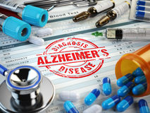 Alzheimers disease diagnosis. Stamp, stethoscope, syringe, blood Stock Photography