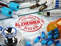 Alzheimers-Krankheitsdiagnose Stempel, Stethoskop, Spritze, Blut Stockfotografie