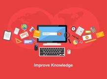 Améliorez le concept plat d'illustration de conception de la connaissance Photo libre de droits