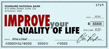 Améliorez votre contrôle d'argent de qualité de vie dépensent apprécient le revenu Photographie stock libre de droits