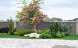 Aménageant le fond en parc horticole, rendu 3d Photo stock