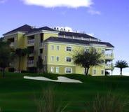 Aménagement à la ressource de golf avec l'hôtel de ressource jaune Photographie stock