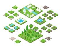 Aménagement des éléments isométriques de conception du jardin 3d Photographie stock libre de droits