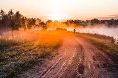 Aménagez en parc, aube ensoleillée avec la route et pêcheur Image stock