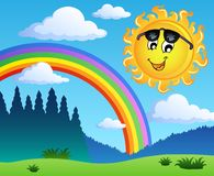 Aménagez en parc avec l'arc-en-ciel et le Sun 1 Photos stock