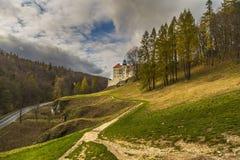 Aménagez en parc avec la forêt d'automne et un beau château Photographie stock libre de droits