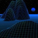 Aménagez en parc avec la grille de wireframe du rétro jeu d'ordinateur dénommé par 80s ou le fond 3d de la science avec le soleil illustration libre de droits
