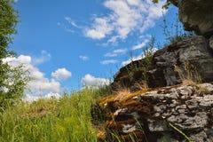 Aménagez en parc avec la pierre moussue et le ciel bleu comme fond Image libre de droits