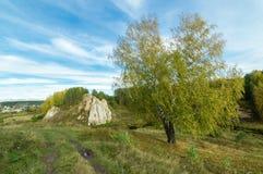 Aménagez en parc avec la roche par la rivière en automne, Image libre de droits