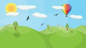 Aménagez en parc avec le ballon à air chaud illustration de vecteur