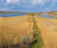Aménagez en parc avec le chemin dans le domaine de précipitation près de la rivière de Dniepr, Ukraine Images stock