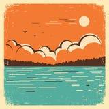Aménagez en parc avec le grand lac bleu sur la vieille affiche Images libres de droits