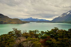 Aménagez en parc avec le lac et les montagnes en Torres del Paine Photo stock