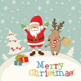 aménagez en parc avec Santa Claus et des cerfs communs, des cadeaux et des flocons de neige Images stock