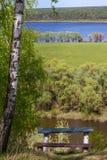 Aménagez en parc de la taille avec des bancs sous un bouleau sur un fond de la rivière de Desna avec des prés et des forêts Photo stock