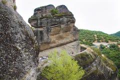 Aménagez en parc en mont Athos en Grèce, avec des roches, des bois et le ciel bleu Photographie stock libre de droits