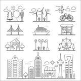 Aménagez la ligne en parc mince ensemble de bâtiments de ville d'éléments linéaire d'icônes de conception d'ourline Constructeur  illustration libre de droits