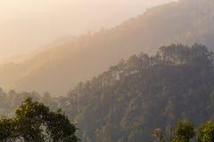 Aménagez la montagne et la brume en parc sur la montagne de matin, lumière molle Backg Images libres de droits