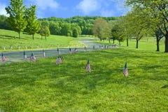 Les drapeaux américains rayent le Raod le Jour du Souvenir Photographie stock libre de droits